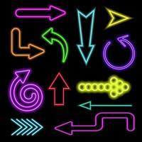 Neon glowing arrows set. Lightning signs on dark background vector