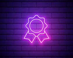 Award Medal line icon. Neon laser lights. Winner achievement symbol. Glory or Honor sign. Banner badge with reward icon. Vector isolated on brick wall.