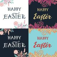 Happy Easter greeting card set with hand drawn lettering vector