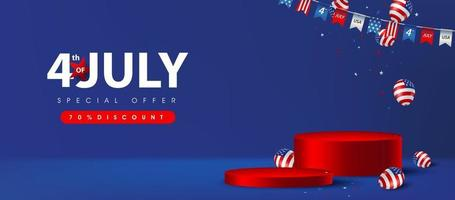 Independence day USA sale banner with product display cylindrical shape and american balloons vector