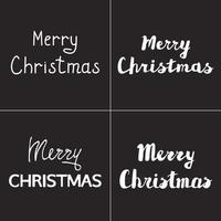 Merry Christmas hand drawn lettering set vector