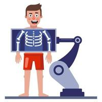 a man makes an x-ray of his chest. health check equipment. flat vector illustration.