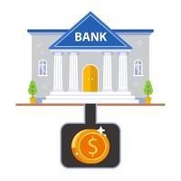underground storage of money under the bank. flat vector illustration.