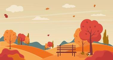 Autumn landscape with trees and bench. Vector illustration