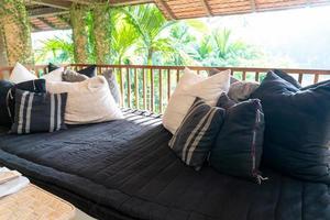 Pillow decorates on sofa on balcony terrace photo