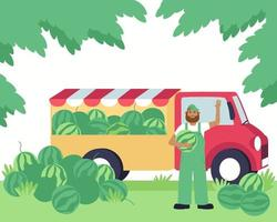 A farmer sells fresh watermelons from his farm from a truck vector