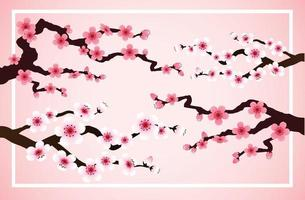 ssakura falling petals vector on pink banner background.
