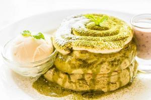Green tea matcha pancakes photo
