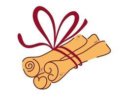 palitos de canela. Especias aromáticas o condimentos alimentarios picantes utilizados en culinaria. elementos decorativos de diseño. manojo de canela. especia para la salud. vector ilustración plana.