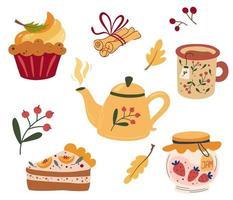 acogedora fiesta de té. juego de teteras, pastel de calabaza, muffin, taza de té caliente, mermelada y canela. servicio de té, flores de jardín y botanas. vector ilustración plana.
