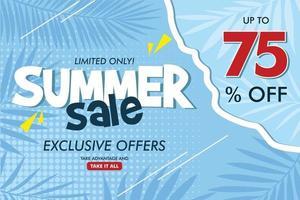 Flat summer sale horizontal banner template Vector