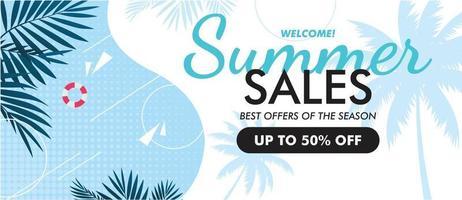 Flat summer sale banner website template Vector