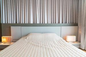 Bed with bedspread decoration in bedroom photo