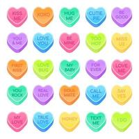 25 Sweethearts candy set flat style design vector illustration isolated on white background. Sweet heart shape candy with inspiration conversations text and date candy treat, Valentine day symbols.
