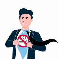Young male man tears shirt and shows t-shirt with no smoking sign icon flat style design vector illustration isolated white background. Concept super hero No smoking man template. The city needs him.