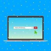 Laptop notebook device with search bar with text Merry christmas and button go with christmas tree arrow  cursor pointer. Flat style design invite to the xmas party postcard vector illustration.