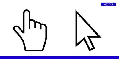 White arrow and finger hand cursor pointer with rounded angles icons vector illustration set isolated on white background