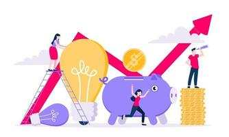 Crowdfunding composition concept of fundraising. Piggy bank with coins money currency. vector