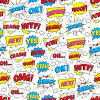 Colorful comic speech bubbles seamless pattern w1ith phrases OMG, POW, BANG, OOPS, WOW, SURPRISE, BOOM etc. Flat style design vector illustration isolated on white background. Chaotic version.