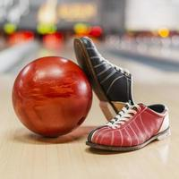 Red bowling ball bowling shoes. High quality beautiful photo concept