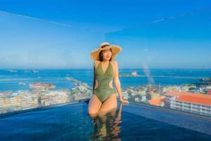 Hermosas mujeres asiáticas jóvenes sonrisa feliz relajarse alrededor de la piscina al aire libre en el hotel resort para viajar en vacaciones foto