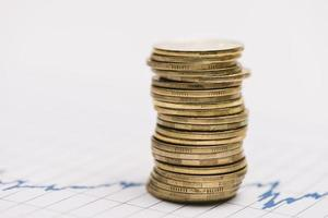 Stack golden coins stock market graph. High quality beautiful photo concept