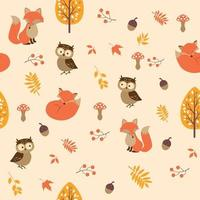 Autumn seamless pattern with tree fox owl berries leaves and mushrooms vector
