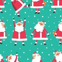 Navidad de patrones sin fisuras con santas sobre fondo azul. vector