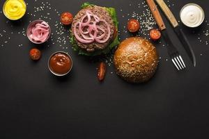 Top view beef burger ready be served. High quality beautiful photo concept