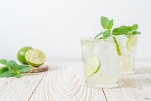 Iced lime soda with mint - refreshing drink photo