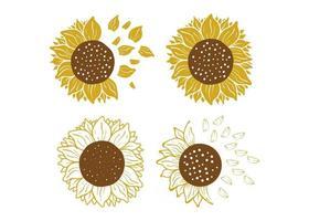 Ilustración de vector de plantilla de diseño de icono de girasol aislado