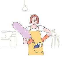 A woman standing with an apron and rubber gloves holding a duster. hand drawn style vector design illustrations.