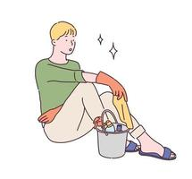 A man in rubber gloves is sitting with a tired face. In front of it is a bucket with cleaning tools. hand drawn style vector design illustrations.