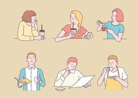 Collection of people drinking coffee. hand drawn style vector design illustrations.
