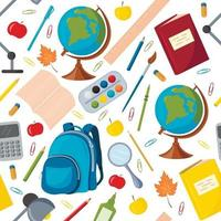 Vector seamless pattern with school supplies. Globe, Backpack, pencils, pens, Paper clips, Calculator