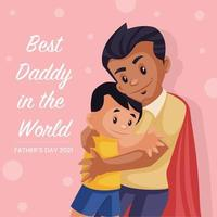 Best daddy in the world banner design template vector