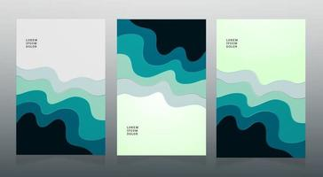 abstract blue papercut vector