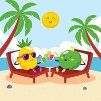 Pineapple and Melon Enjoying Summer vector