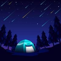 Meteor Rain in the Night Sky vector