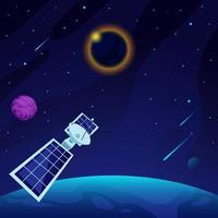 satélite observando el eclipse solar vector