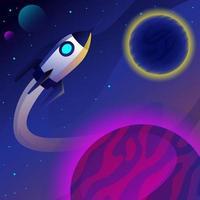 Spaceship Flying Around Solar Eclipse vector