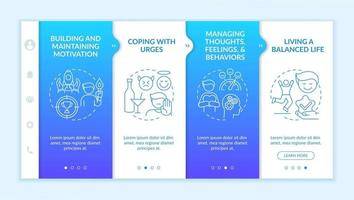 Addiction recovery steps onboarding vector template