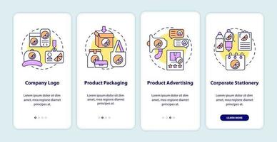 Corporate branding touchpoints onboarding mobile app page screen with concepts vector