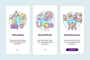 Brand change types onboarding mobile app page screen with concepts vector