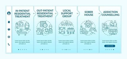 Rehabilitation types onboarding vector template