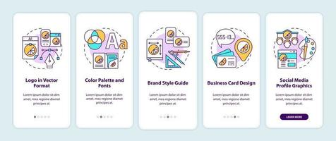 Business branding services onboarding mobile app page screen with concepts vector