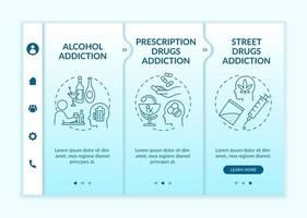 Addiction types onboarding vector template