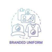Branded uniform concept icon. Corporate branding material abstract idea thin line illustration. Company clothing. Uniform style with logo and organization name. Vector isolated outline color drawing