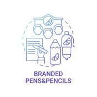 Branded pens and pencils concept icon. Corporate branding material abstract idea thin line illustration. Effective promotional tool. Gift to clients, employees. Vector isolated outline color drawing