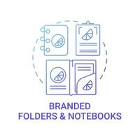 Branded folders and notebooks concept icon. Corporate brand abstract idea thin line illustration. Promotional gift to customers. Exclusive giveaway. Office goods. Vector isolated outline color drawing